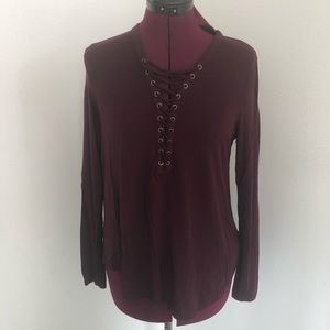 AEO Burgundy Soft & Sexy Lace Up Shirt Size M